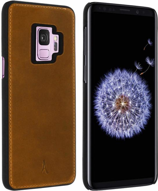 AKASHI coque cuir italien marron p/galaxy s9