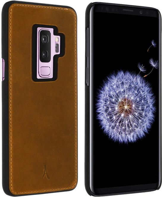 AKASHI coque cuir italien marron p/galaxy s9+