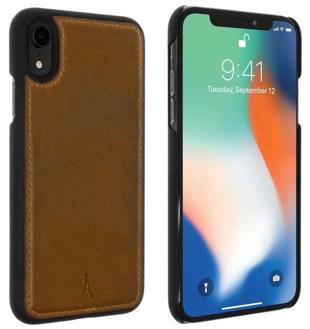 AKASHI coque cuir italien marron p/iphone xr