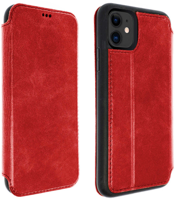 AKASHI etui cuir rouge stand cb p/iph 11