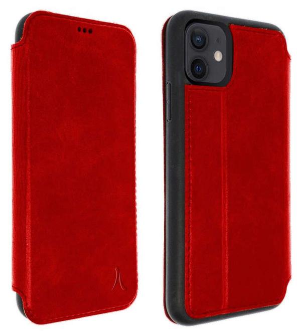 AKASHI etui cuir rouge stand cb p/iph 12 mini