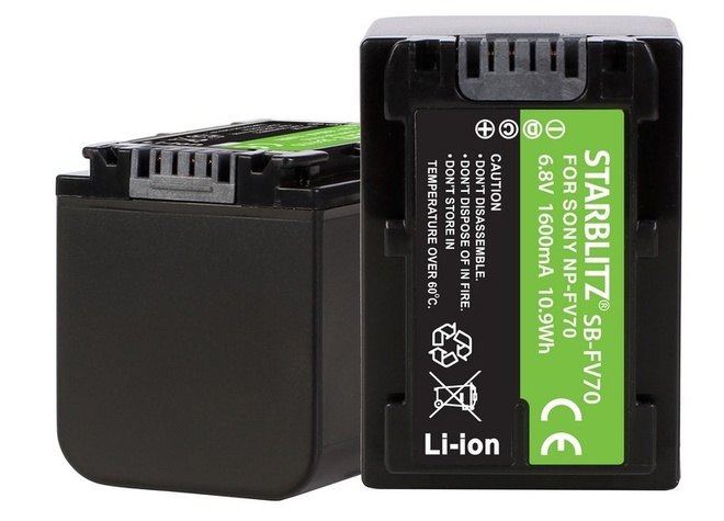 STARBLITZ Batterie compatible Sony NP-FV70