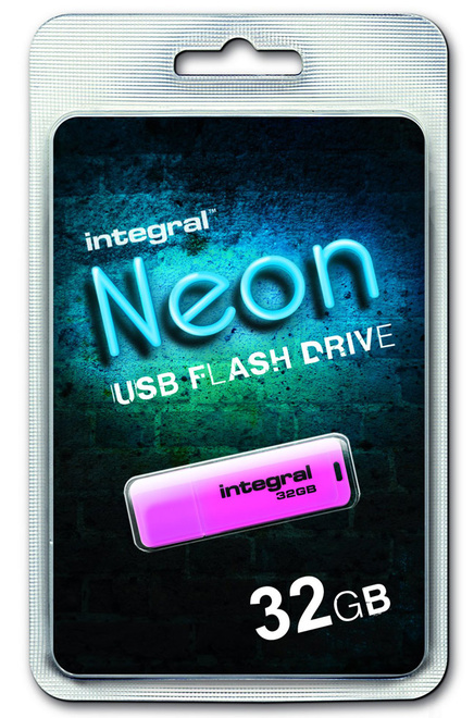 INTEGRAL cle usb fluo rose 32go.