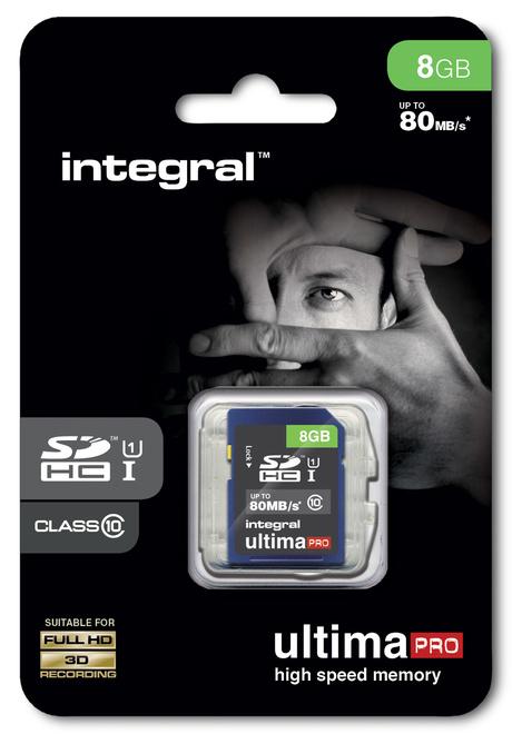 INTEGRAL SDHC Ultima Pro 80MB/s 8GB.