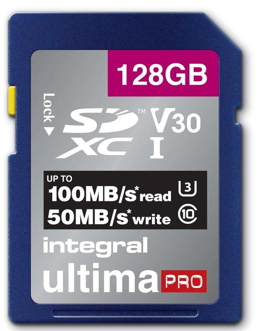 INTEGRAL SDXC 128GB V30 4K  100/90MB