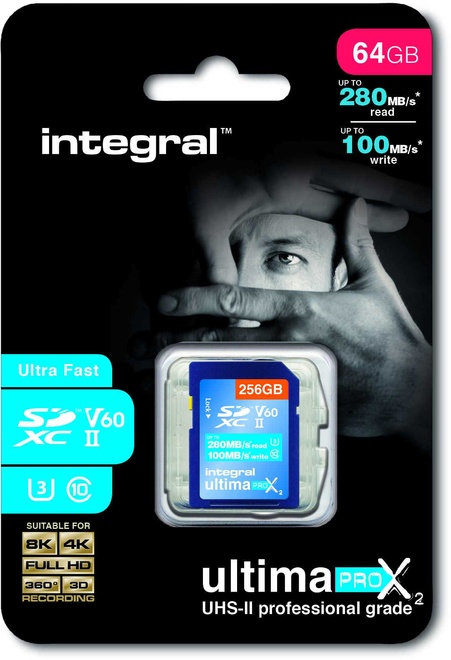 INTEGRAL sdxc 64 gb cl10 uhs2 u3v60 260mb/100mb/s