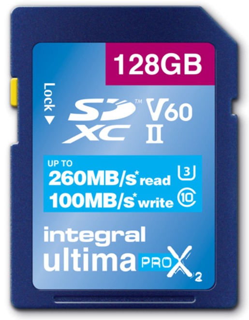 INTEGRAL sdxc 128gbcl10 uhs2 u3 v60 260mb/100mb/s