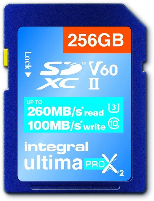 INTEGRAL sdxc 256gb cl10 uhs2 u3v60 260mb/100mb/s