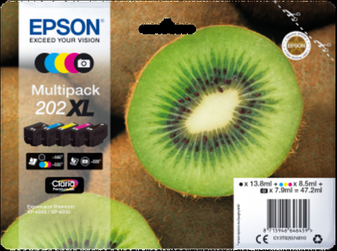 EPSON pack 4 cart XL kiwi pr xp 6000.
